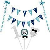 """KUNGYO """"Happy Birthday"""" Décoration de Gâteau D'anniversaire- Bannière de Gâteau Bleu Et """"1"""" Cake Topper Pour la Fête d'anniversaire du Garçon de 1 An"""