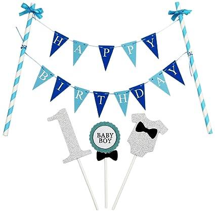 """KUNGYO""""Happy Birthday"""" Decorazione della Torta di Compleanno- Mini Bandiera Blu e 1"""