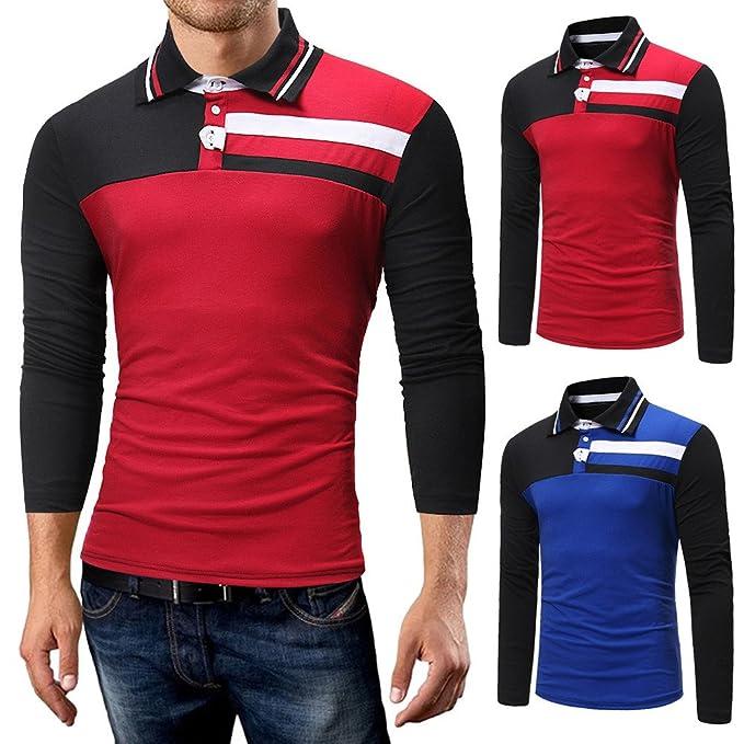 OHQ_Camisa Hombre Blusa OtoñO Moda 2018 Casual BotóN Rayas Pullover Camiseta De Manga Larga Top Blusa