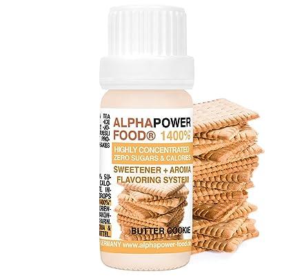 ALPHAPOWER FOOD Aroma alimentario - alimenticio, concentrado 1400%*,1x10ml saborizante de alimentos Galleta de mantequilla, vegano, gotas aromatizantes y ...