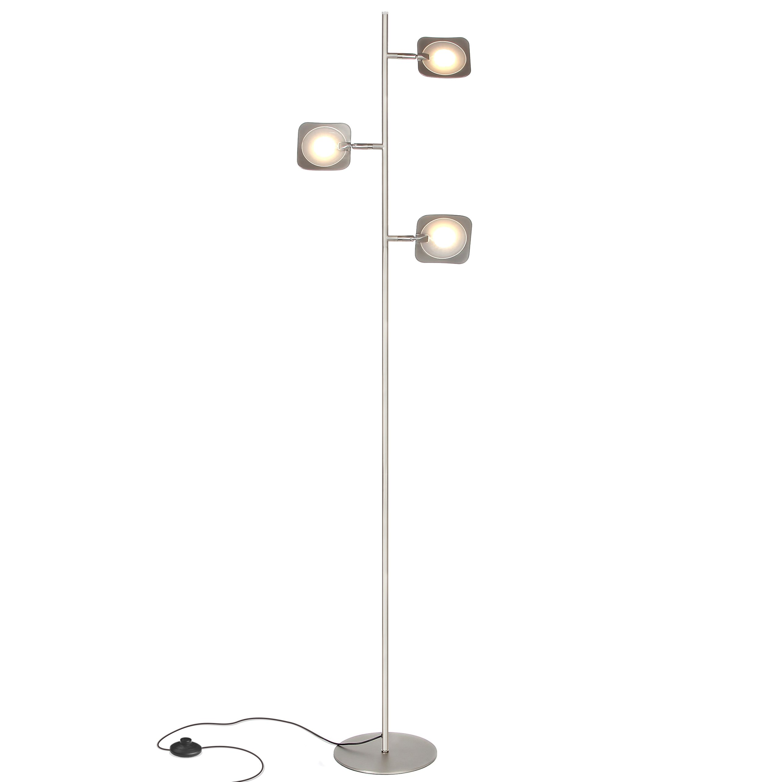 Brightech Tree Led Floor Lamp- Classy Modern Tall Pole Standing Industrial 3 Light, 3 Head – Dimmable & Adjustable Omnidirectional Energy Saving Light for Living Room Office Dorm Bedroom- Satin Nickel
