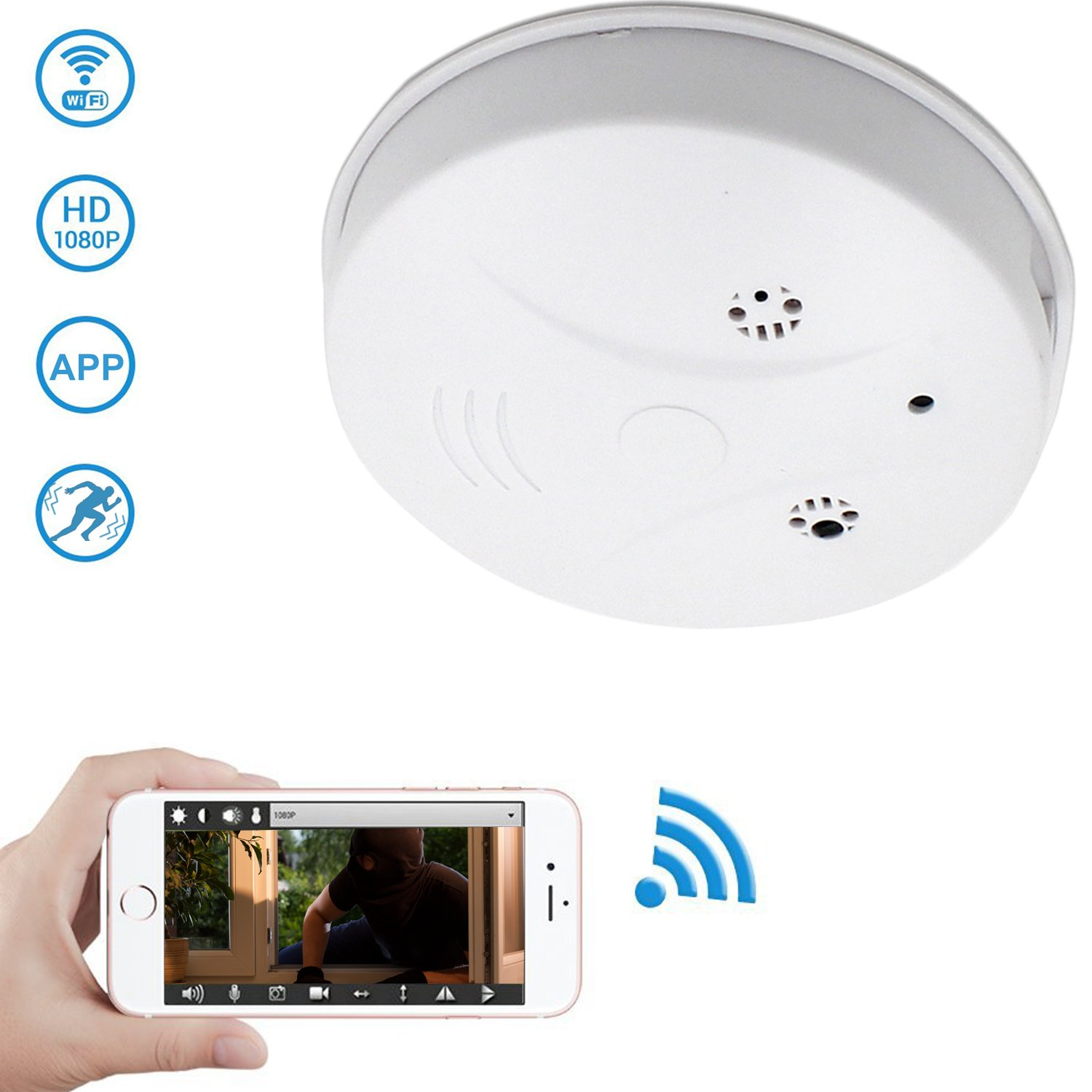 WiFi Hidden Camera Spy Camera Smoke Detector, DareTang HD 1080P Motion Detection Activated Mini Video Recorder Security Cameras for iPhone,Android and PC