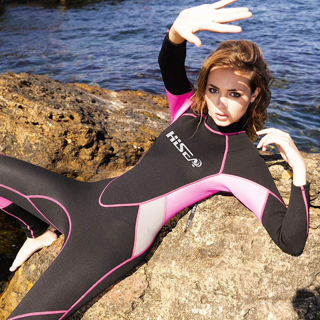 Dumanfs Full Wetsuit 3mm Diving Surfing Long Sleeve Snorkeling Suits Jumpsuit for Women
