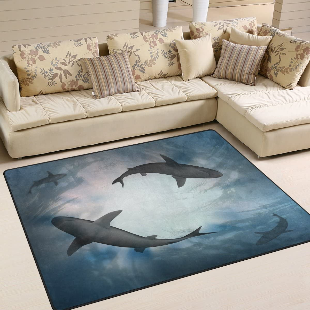 ALAZA Under Blue Water with Shark Area Rug Rugs Mat for Living Room Bedroom 7 x5