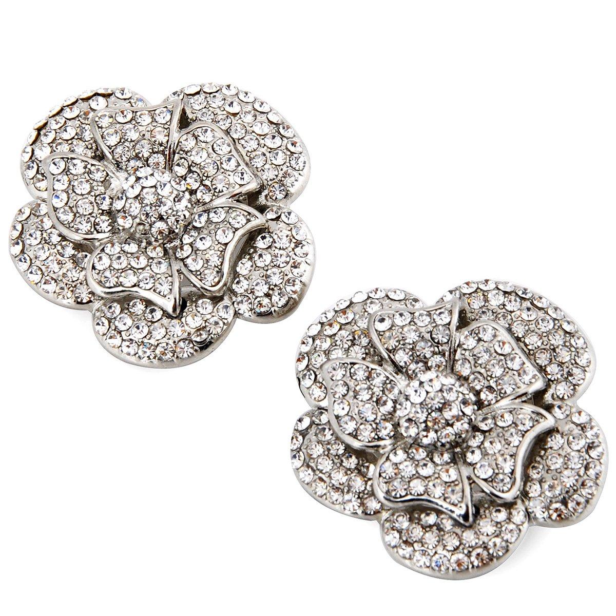 ElegantPark AF Fashion ivory Pearls Rhinestones Shoes Dress Hat Shoe Clips 2 Pcs