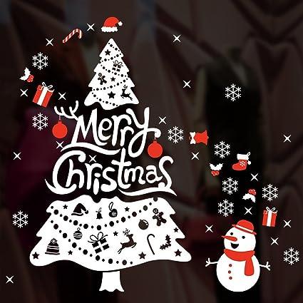 Amazon.com: 2018 Merry Christmas Wall Decals - Xmas Tree/Snowman ...