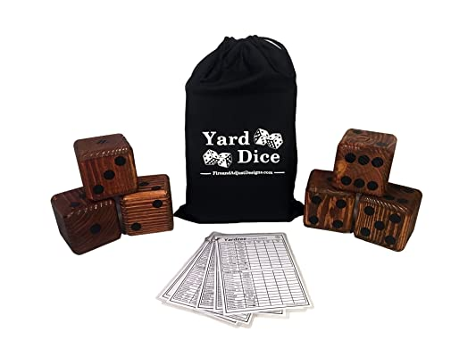 Yard Dice Giant Wooden Yard Game, 6 Solid 3.5
