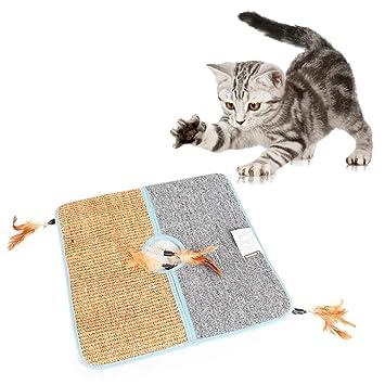 AOLVO Rascador para Gatos, Doble Cara, Natural de Tanzanía, Alfombrilla para rascar Gatos