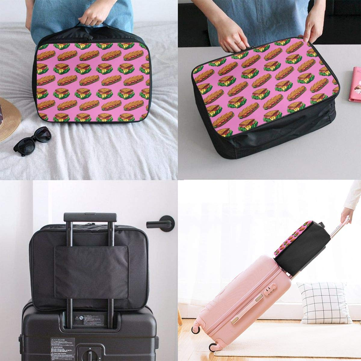 YueLJB Delicious Sandwich Pattern Lightweight Large Capacity Portable Luggage Bag Travel Duffel Bag Storage Carry Luggage Duffle Tote Bag