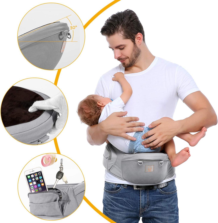 GAGAKU Portabeb/és Taburete de Cintura con Dobles Cinturones Ajustables para Beb/é 0-36 Meses Reci/én Nacido