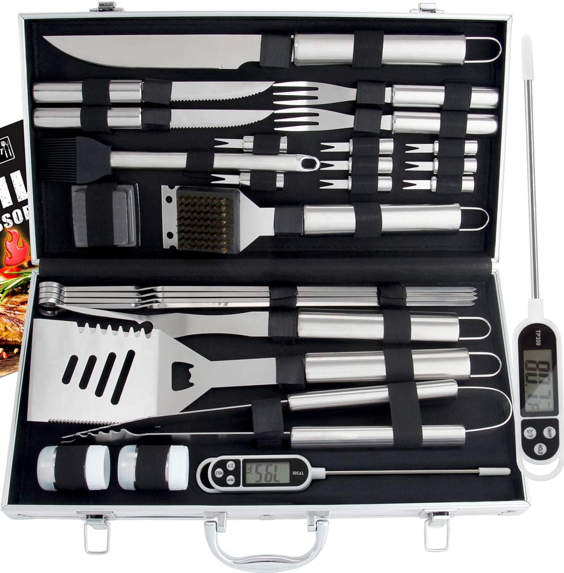 Best Grilling Accessories,Versatility in use: Romanticist 27pc BBQ Accessories Set with Thermometer