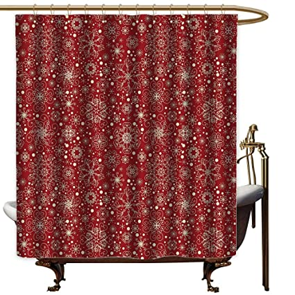 Qenuanmpo Polyester Shower Curtain RedFiligree Style Snowflakes With Skinny Curl Details Cheerful Yuletide Inspiration
