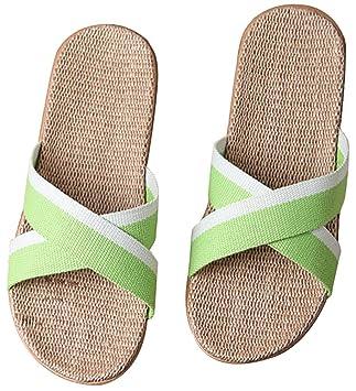d842276c2 Slip on Slippers Happy Lily Non-slip Open Toe Unisex Couples Sandal Organic  Linen Mules