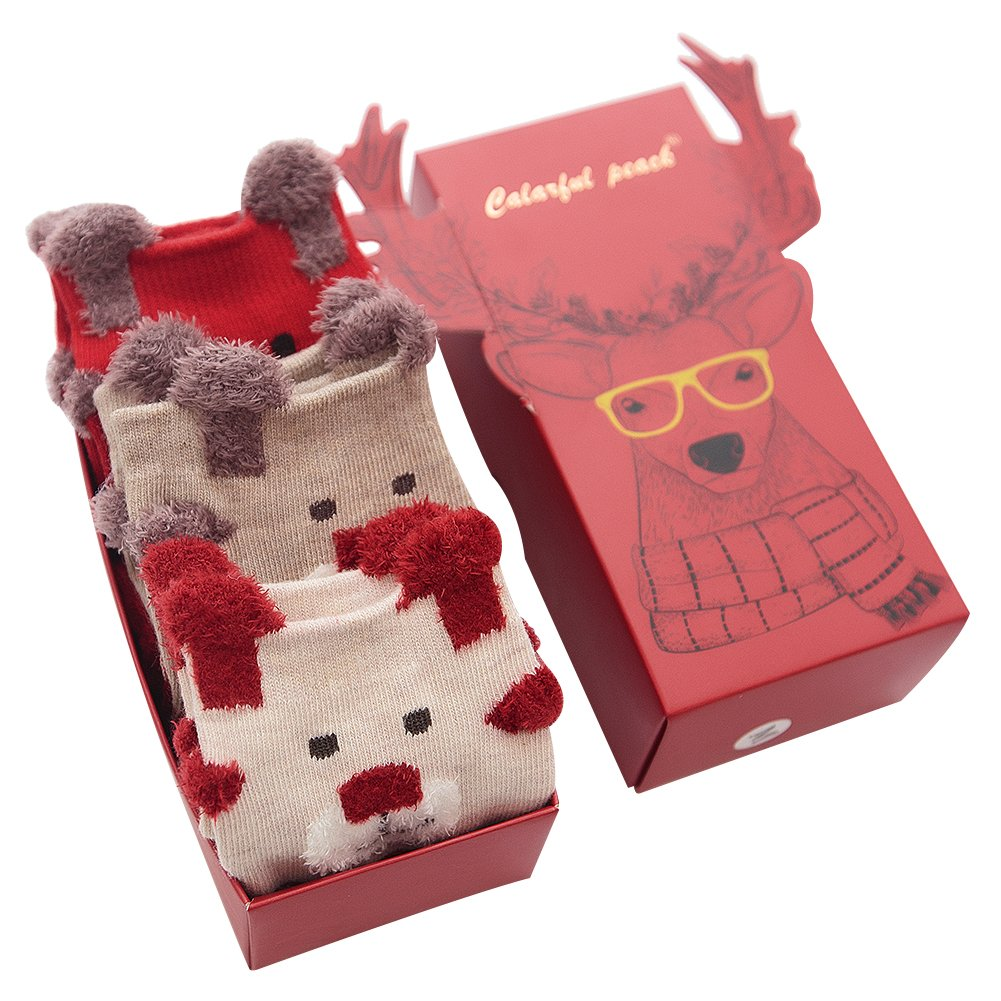 Jamron Women's Girls' Lovely Christmas Gift Set 3 Pairs Novelty Xmas Cotton Socks