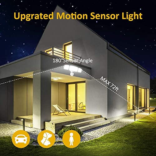 Samuyang LED Motion Sensor Light Outdoor,4000 LM Super Bright Motion Security Light with 3 Adjustable Head,IP65 Waterproof 6500K White Motion Led Flood Light for Backyards, Patios, Garages,Porch