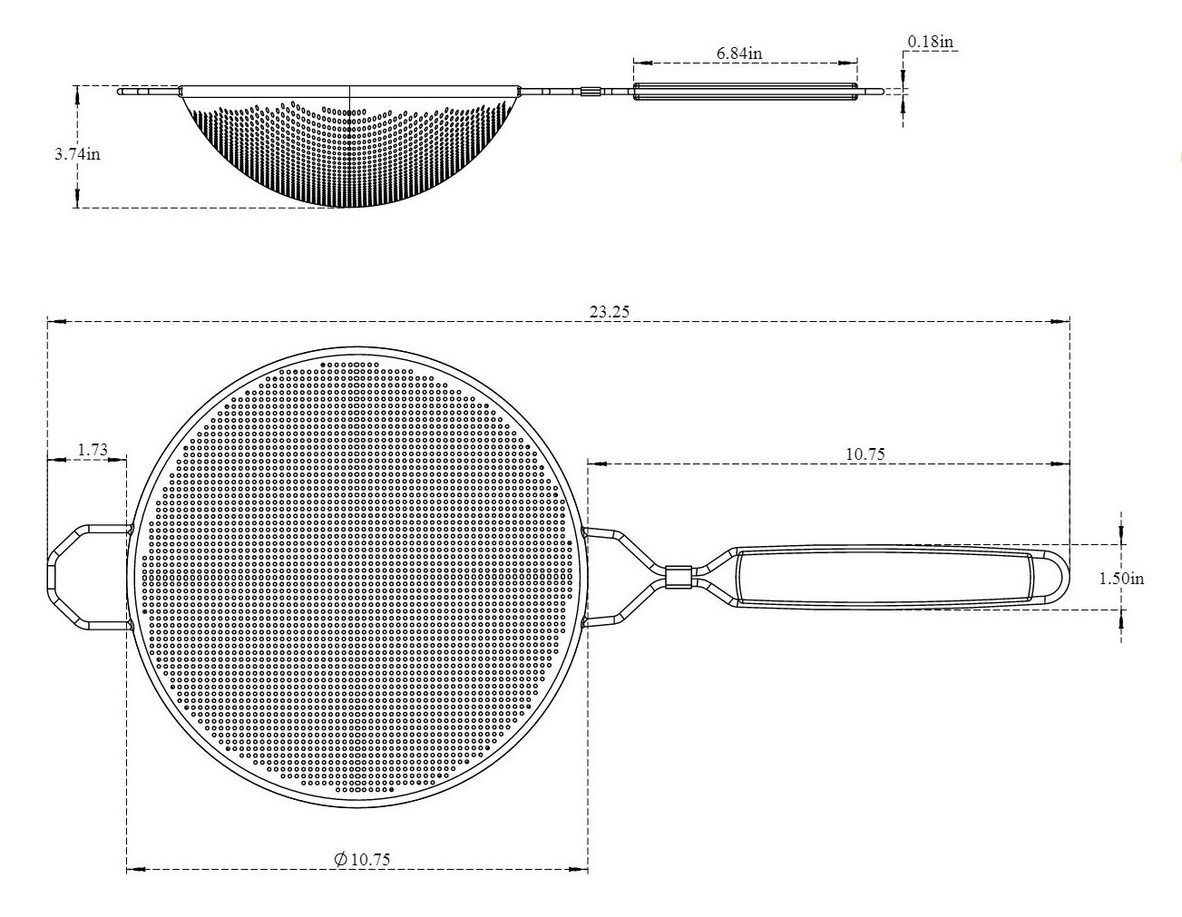 Krome 10.75'' Stainless Steel Double Mesh Strainer with Wooden Handle C793