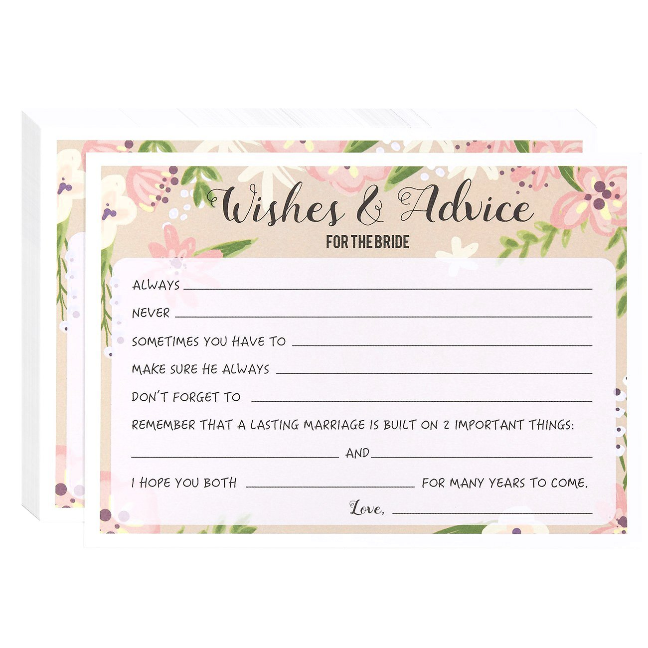 d7f1ee9e4cc Amazon.com  Marriage Advice and Well Wishes for Bridal Shower - 50 Sheet  Floral Wedding Game Cards
