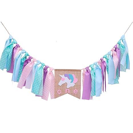 Amazon.com: 1ST Happy Birthday Banner (montado), unicornio ...
