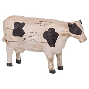 The Country House Ol' Cow Holstein Aged Cream 7 x 4 Carved Look Resin Stone Collectible Figurine