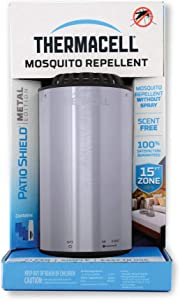 Thermacell Patio Shield Mosquito Repellent Metal Edition, Easy to Use, Highly Effective; Provides 12 Hours of DEET-Free Backyard Mosquito Repellent; Scent-Free, No Spray, No Smoke and Cordless