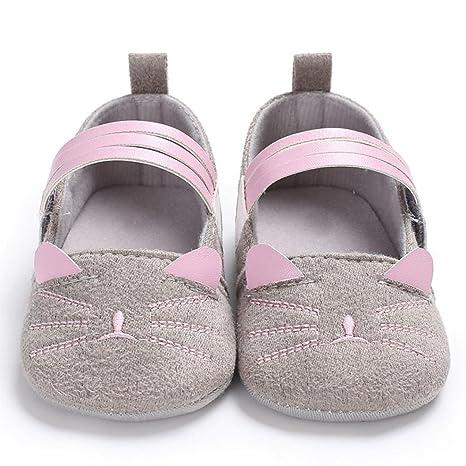 jubaopen Toddler Zapatos de bebé niñas gato Flock gamuza ...
