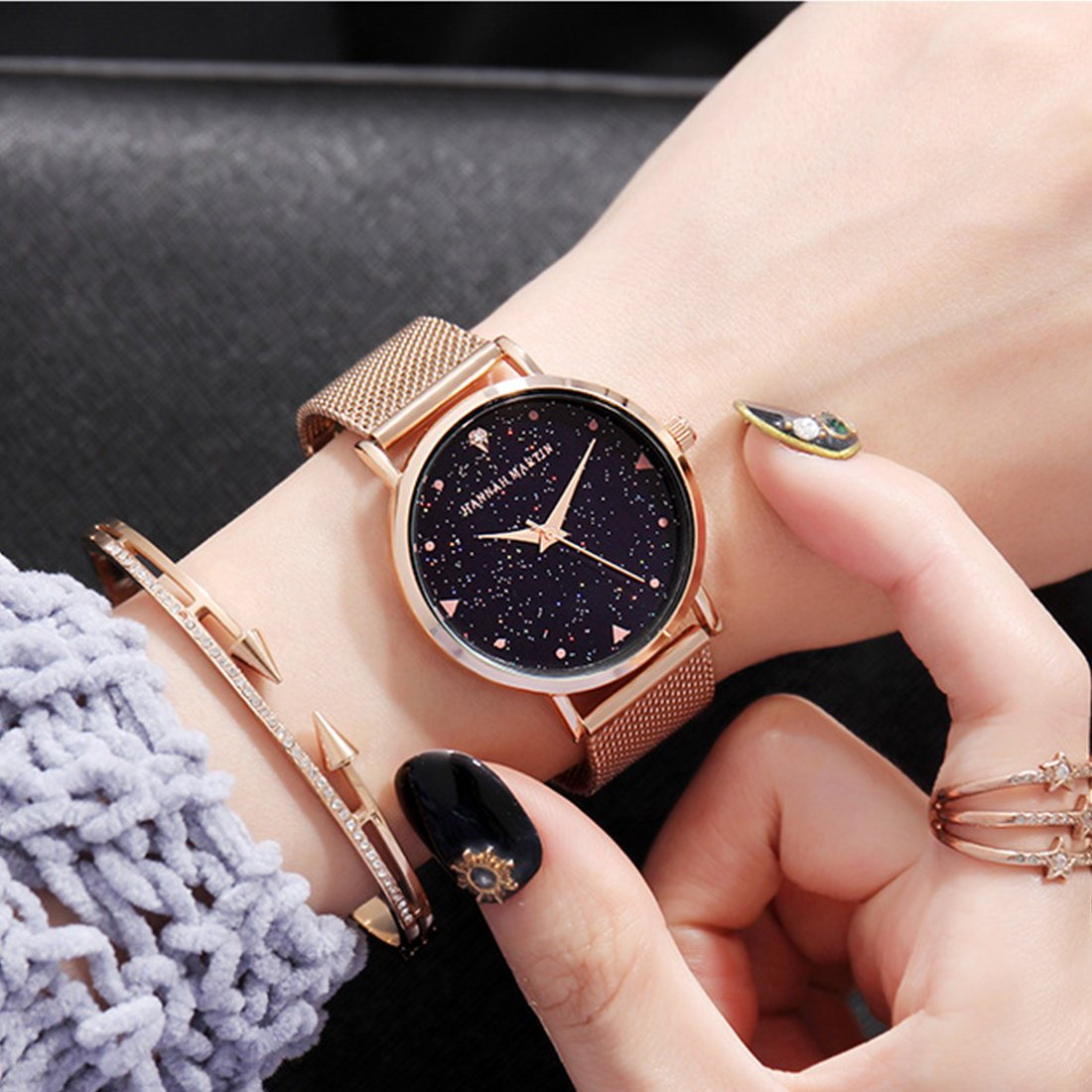 Amazon.com: Womens Fashion Watches for Sale Rose Gold Mesh Stainless Steel Bracelet Wrist Watch Starry Sky Rhinestone Face Luxury Lady Watch 36mm ...