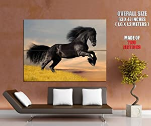 BLACK KNIGHT Horse Jump Animal Print POSTER GIGANTIC SIZE 63x47 inches (160x120 cm) - made of 2 sections