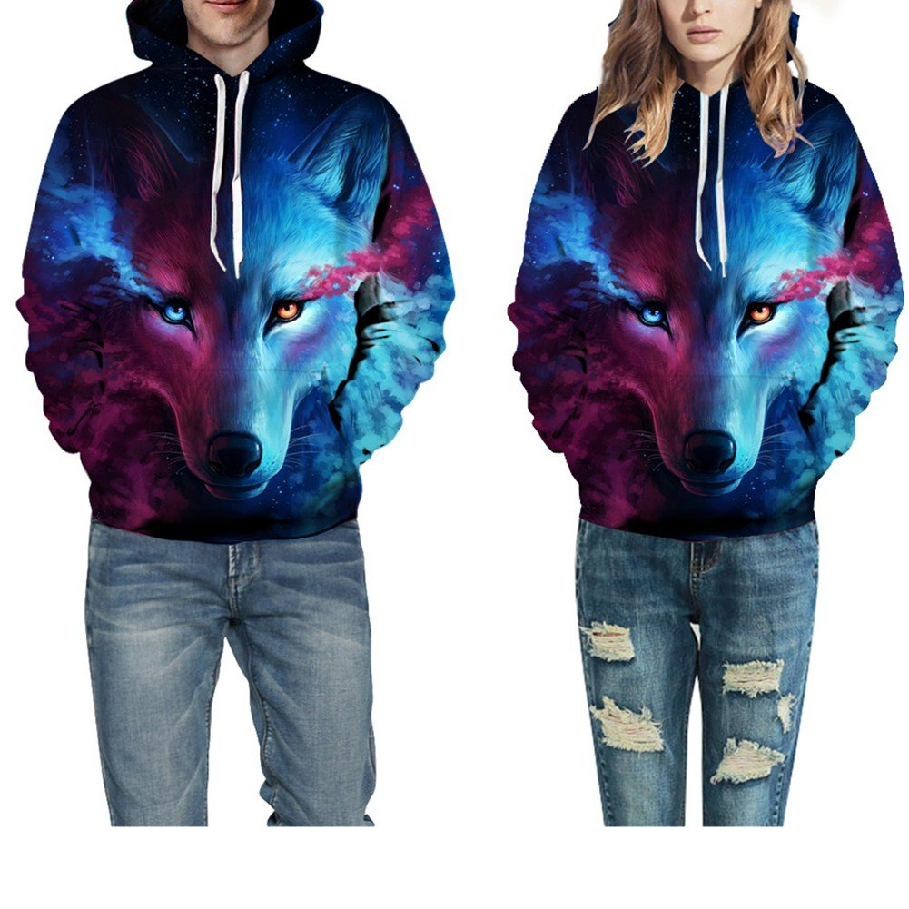 47dc4e9588e2b3 Unisex 3D Printed Drawstring Hoodies Long Sleeve Hooded Pullover Sweatshirt  With Pockets (Purple Wolf 2XL 3XL)