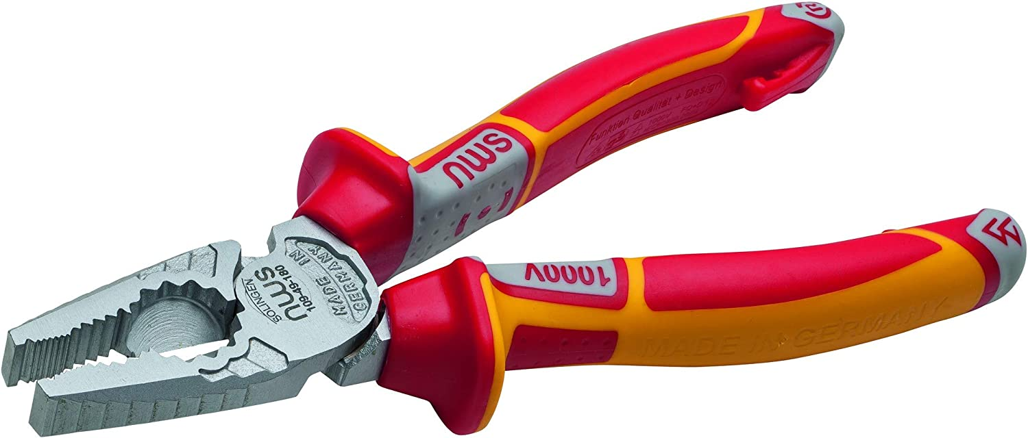 NWS 140-49-VDE-205-SB Number 140-49 VDE Chain Nose Pliers 205 mm Silver//Red