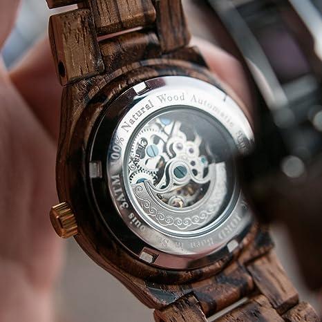 Jord de Madera Relojes para Las Mujeres - Banda de Reloj de Esqueleto automático de la Serie Cora/Madera/Madera Bisel/Self Winding Movimiento - Incluye Caja ...