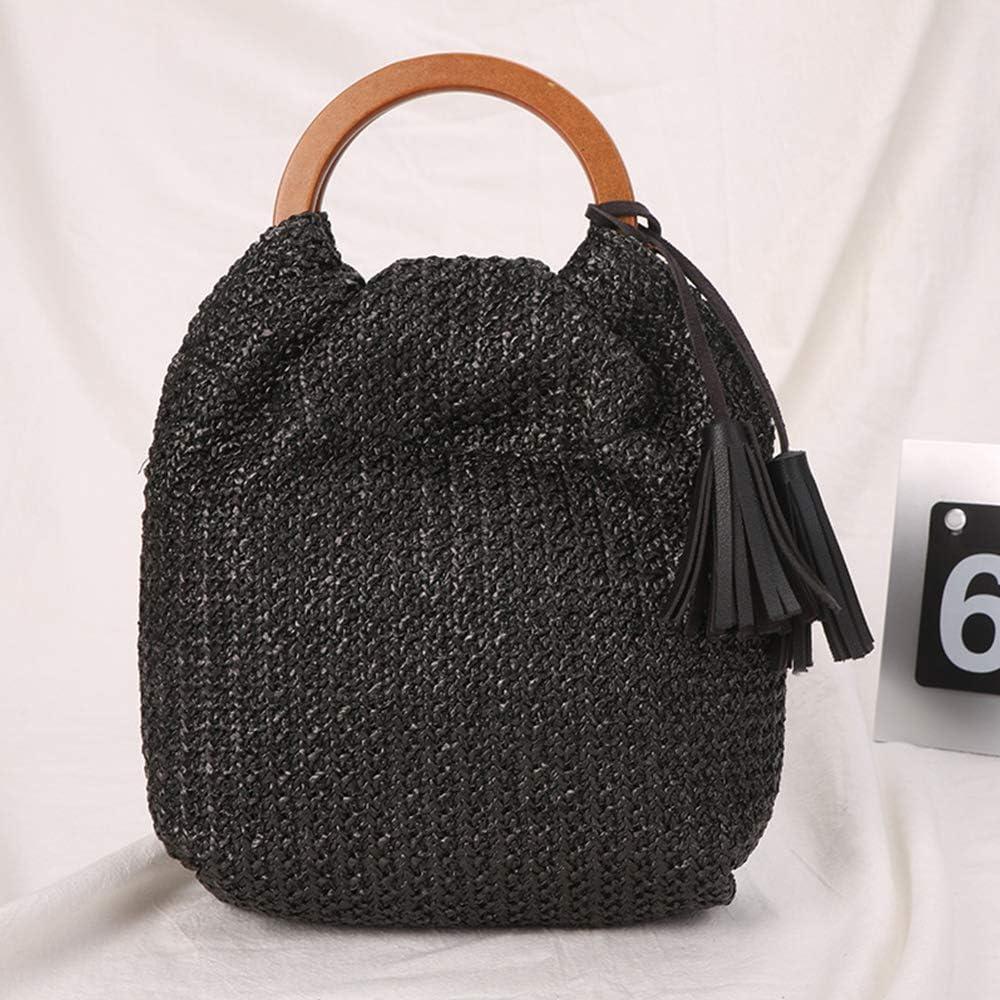 QTKJ Hand-woven Large Straw Tote Bag with Black Leather Tassels Boho Brown Wooden Round Handle Tote Retro Summer Beach Bag Rattan Handbag Black