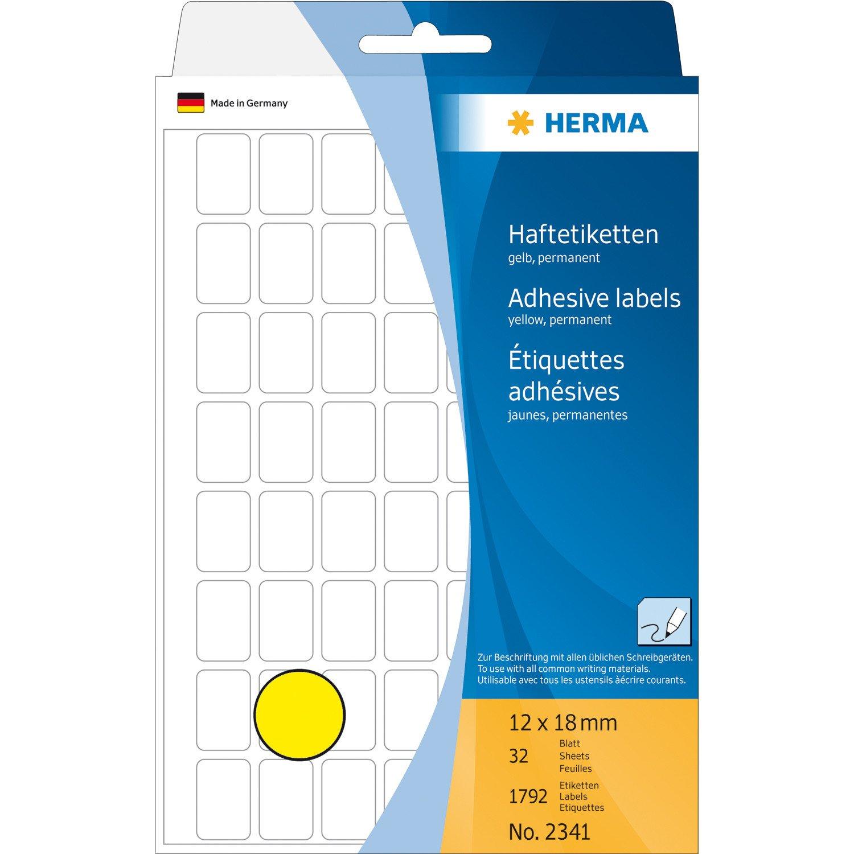 HERMA 2341 Vielzwecketiketten 12x18mm Papier matt selbstklebend 1792 Stück gelb