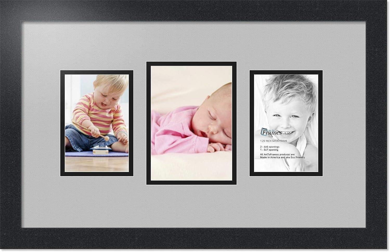 (アートトゥフレームズ)ArtToFrames コラージュフォトフレーム ダブルマット 3窓 サテンブラックフレーム 1 - 5x7 and 2 - 4x6 Double-Multimat-201-88/89-FRBW26079 B00G041KHM 1 - 5x7 and 2 - 4x6|Tv Grey Tv Grey 1 - 5x7 and 2 - 4x6