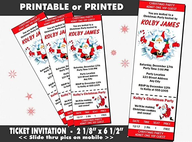 graphic about Printable Tickets referred to as : Cartoon Santa Xmas Bash Ticket Invitation