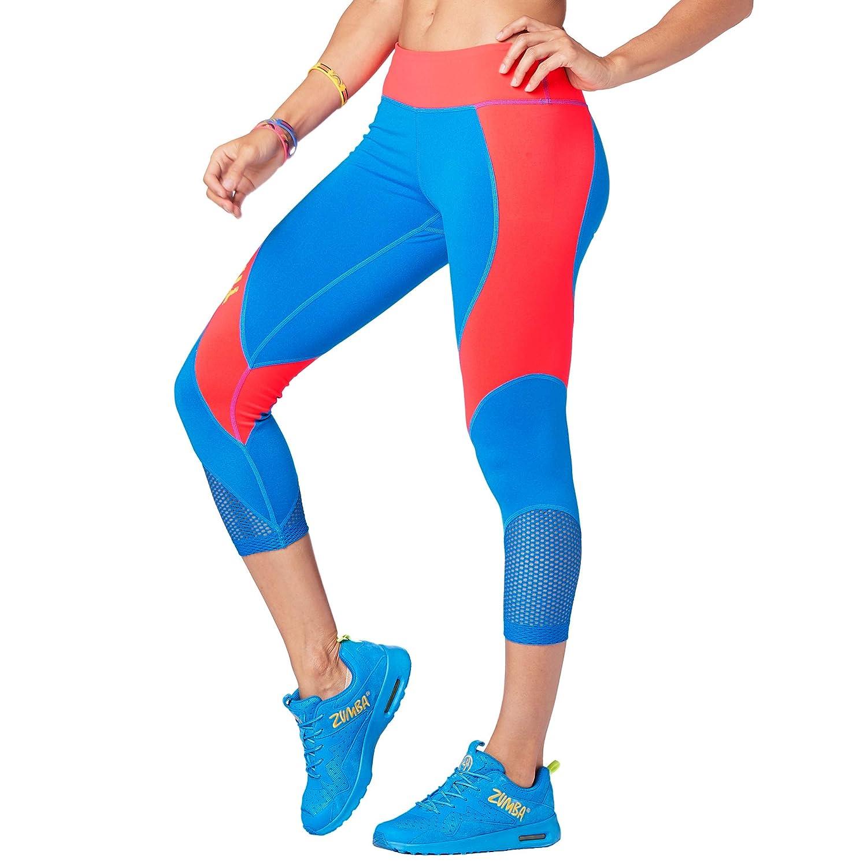 Zumba Fitness Womens WB You Glow Mesh Capri Leggings-Waterfall Large