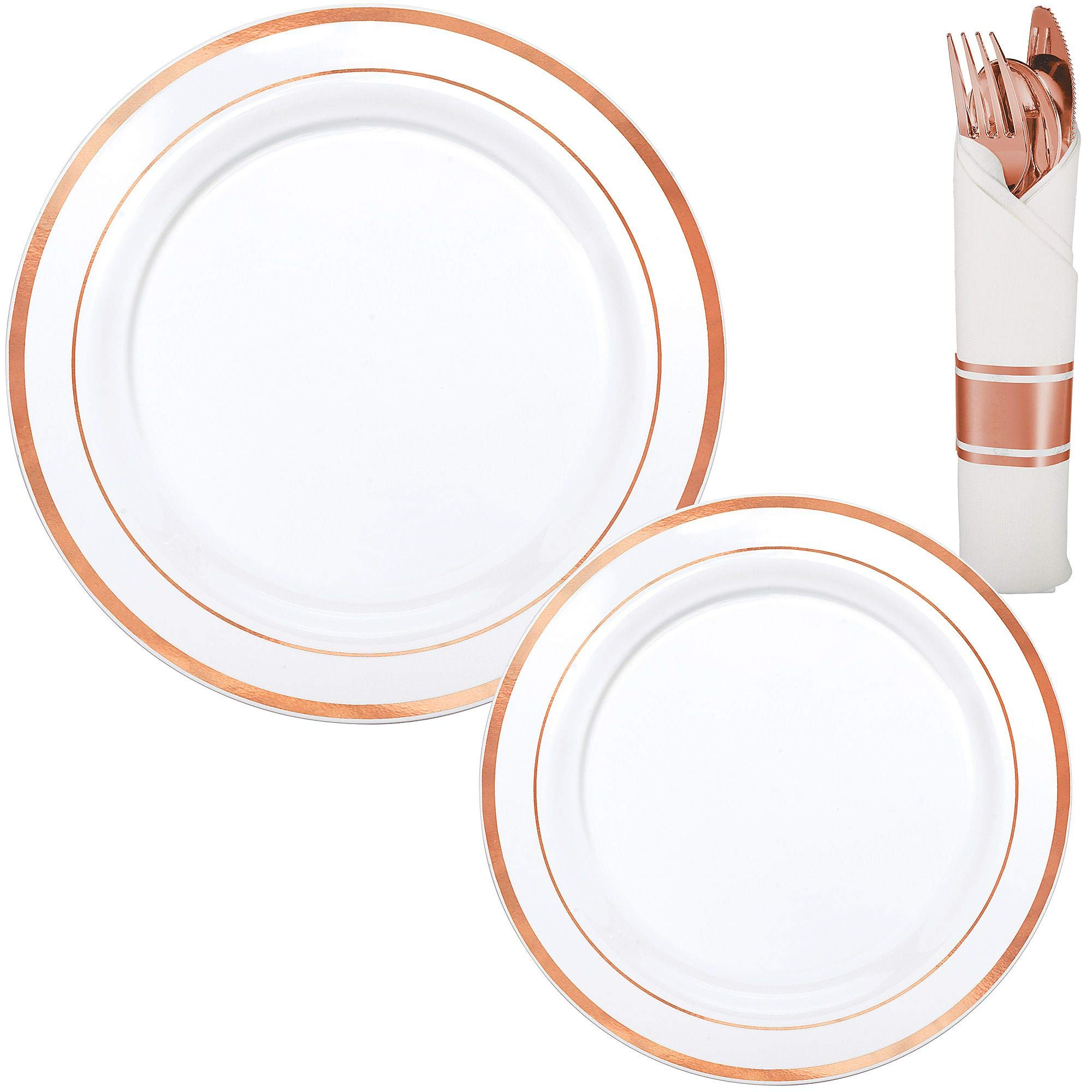 Party City White Rose Gold-Trimmed Premium Tableware Kit for 40 Guests, Includes Rolled Cutlery Sets by Party City (Image #1)