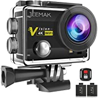 """JEEMAK Action Camera 4K 16MP Underwater Cam WiFi Waterproof 30m 170° Wide Angle Len 2"""" LCD Remote Control Sports Camera with 2 Batteries 23 Accessories Kit Compatible With go pro"""