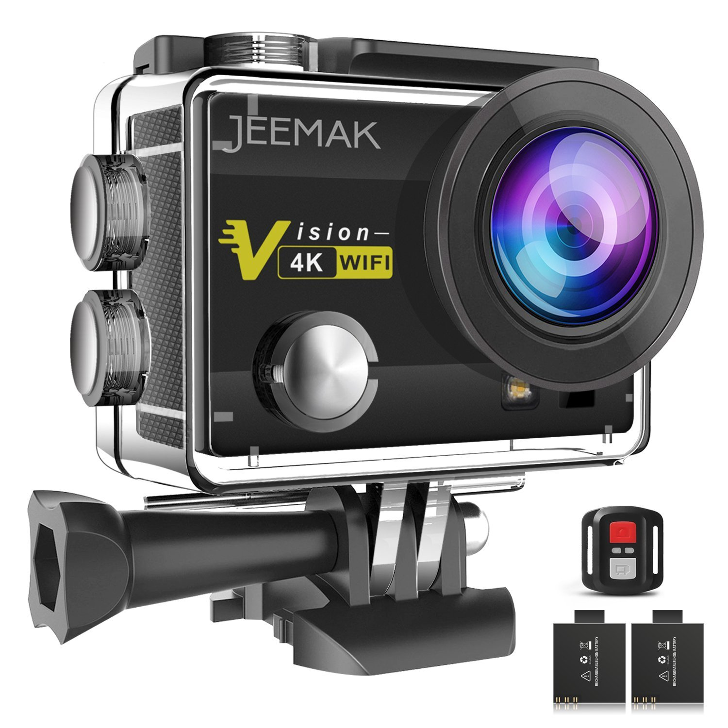 JEEMAK Action Camera 4K 16MP WiFi Underwater 30m Waterproof Cam 170° Wide Angle Len with Remote Control 2 Pcs  Rechargeable Batteries and Mounting Accessories Kits