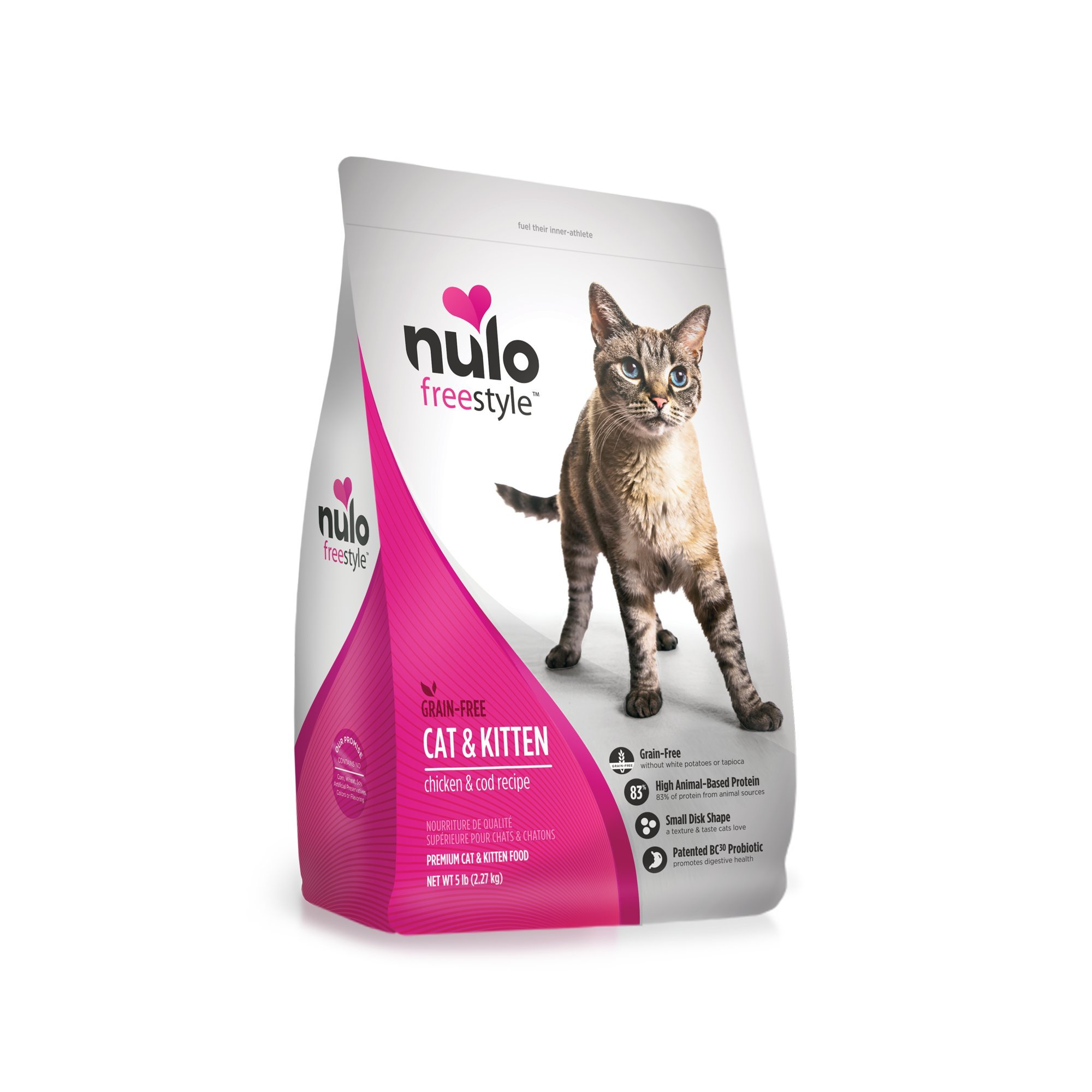 Nulo Adult & Kitten Grain Free Dry Cat Food With Bc30 Probiotic (Chicken, 5Lb Bag) by Nulo