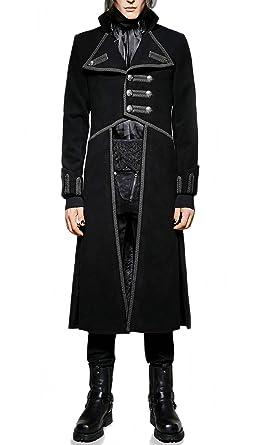 Herren Mantel Trenchcoat Punk Rave Gothic Jacket Militärmantel Gehrock  Y-713 (S) fb2a76853a