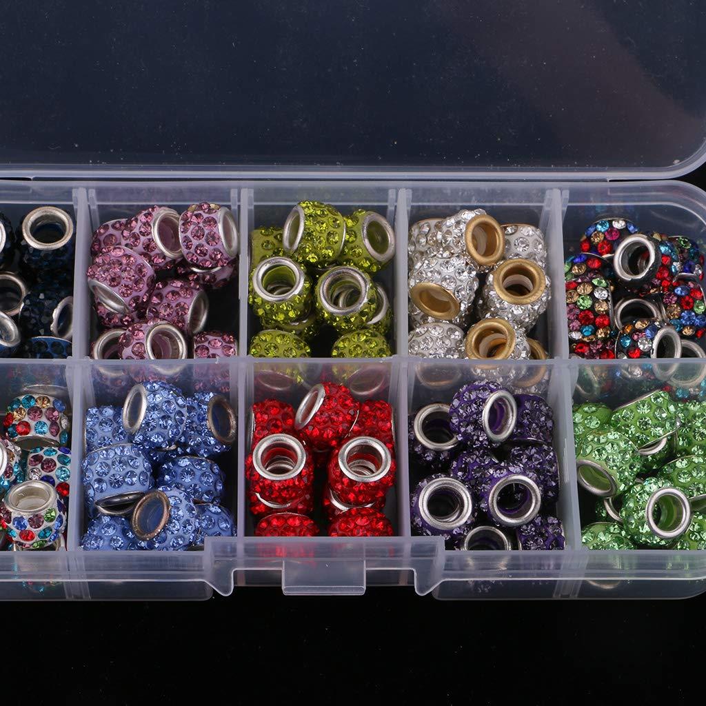 P Prettyia 200pcs 10mm Clay Rhinestone Perline Grandi Perline Foro per Lalimentazione di Artigianato 2 Scatole