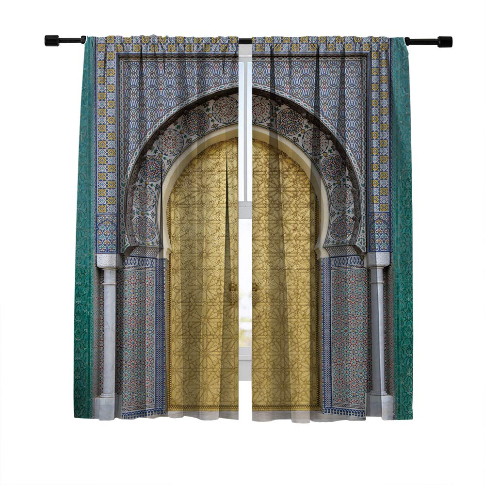 Misscc Thermal Insulated Blackout Curtains,Moroccan Entrance-Golden Carved Door of a Palace in Morocco Picture Window Treatments Drapes,Living Room Bedroom Kitchen Cafe Window Curtains 2 Panels Set