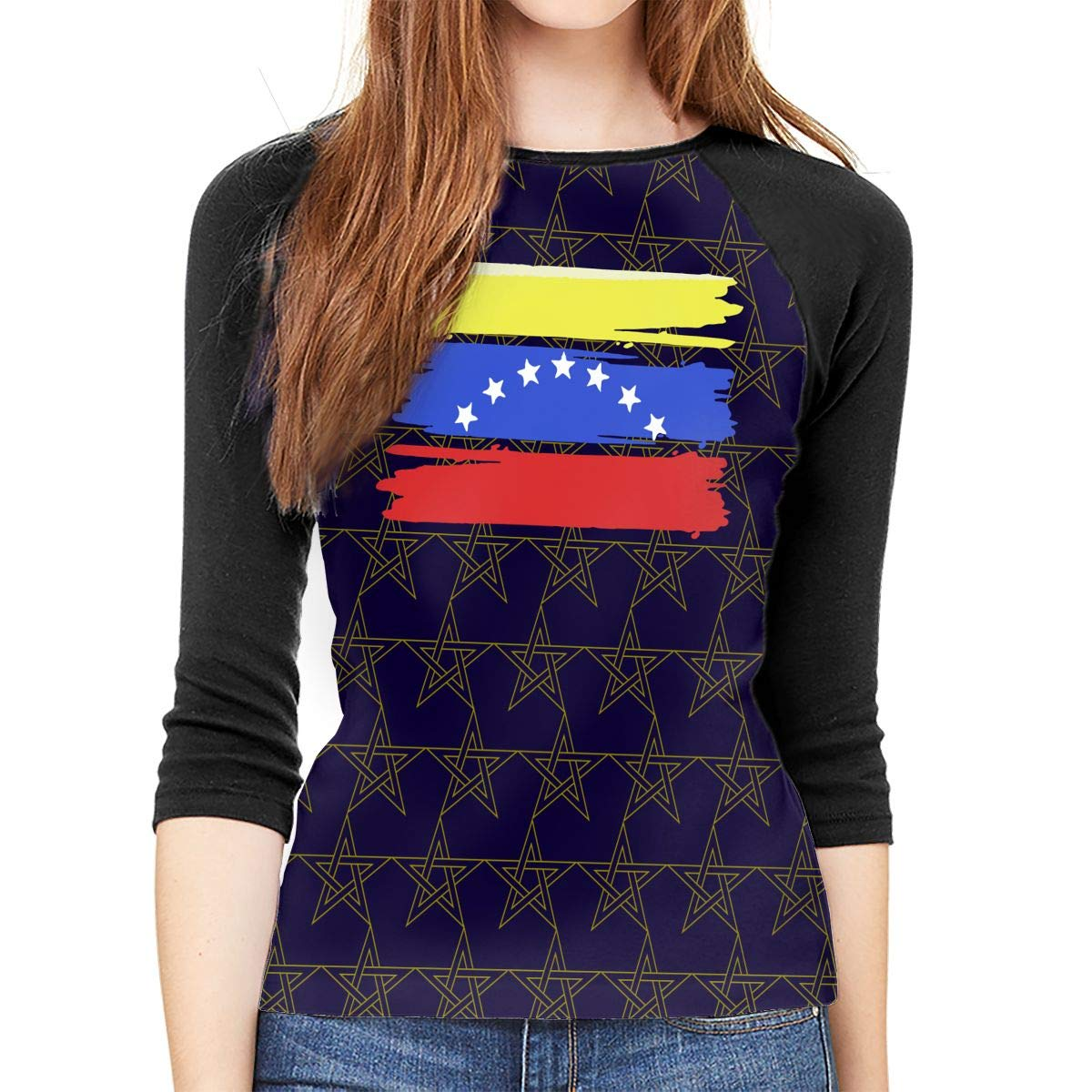 XYMYFC-E Venezuelan Stars Flag Adult Womens Long Sleeve T Shirts