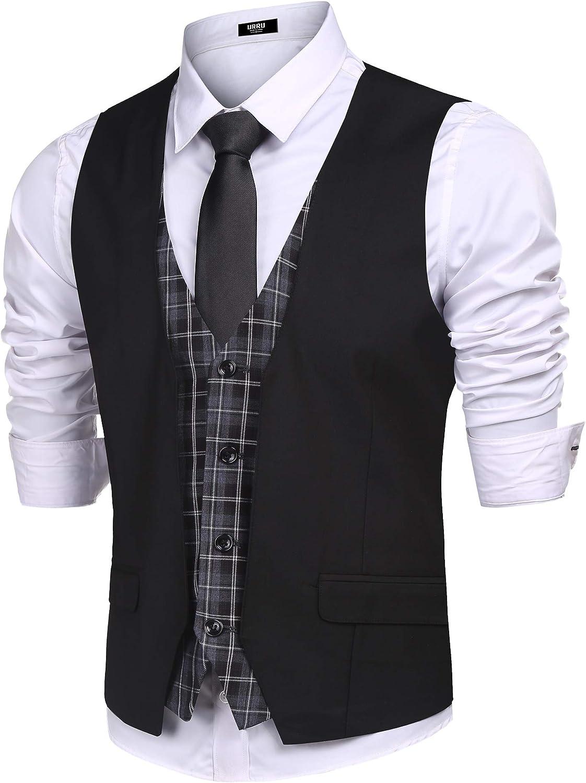 URRU Men's Business Dress Suit Vest Slim Fit Layered Plaid Wedding Waistcoat Casual Party Tuxedo Jacket S-XXL