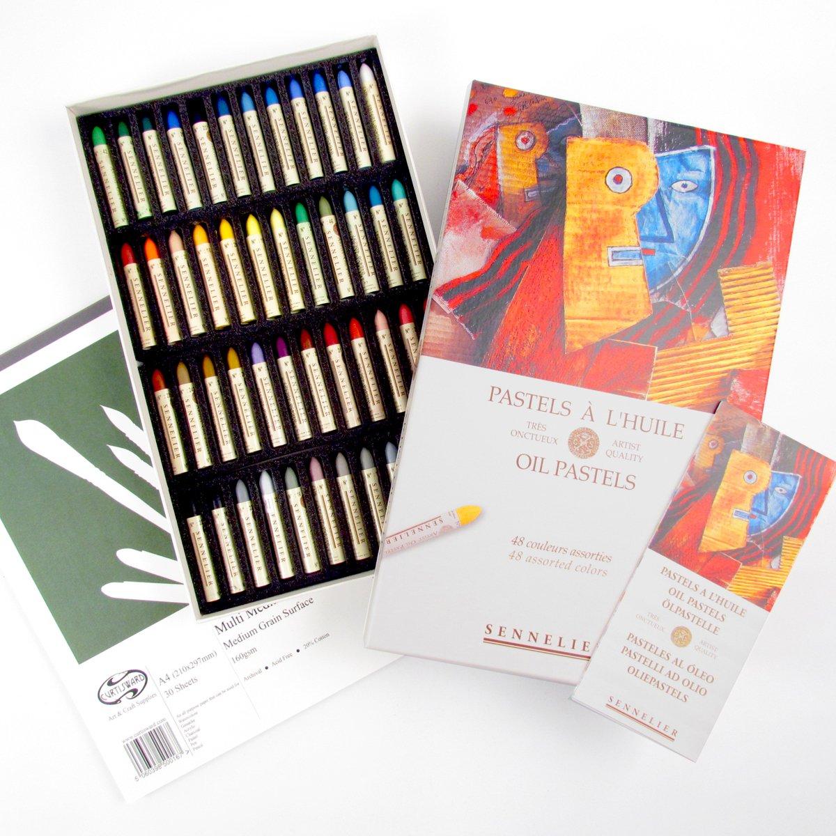 Sennelier 48 Artists Oil Pastel Box Set + FREE CW A4 Multi Media Pad