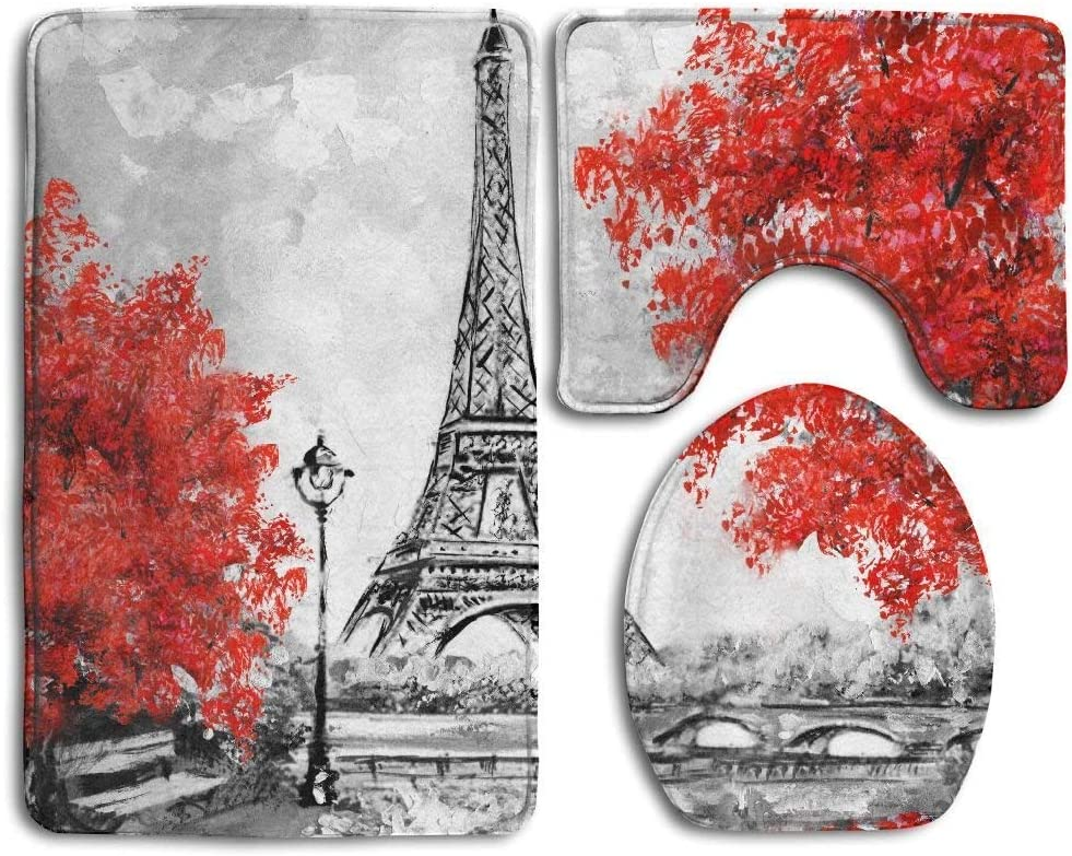 Amazon Com Tsjkwo Oil Painting Paris European City Landscape France Wallpaper Eiffel Tower Black White Red Bathroom Rug 3 Piece Bath Mat Set Contour Rug Lid Cover Garden Outdoor