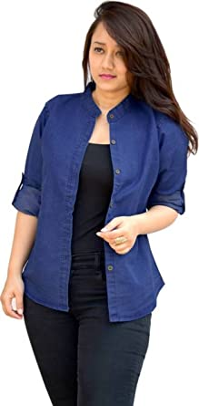 7a19244a6 Trendy frog Women Long Sleeve Solid Denim Shirt Top, Blue: Amazon.in ...