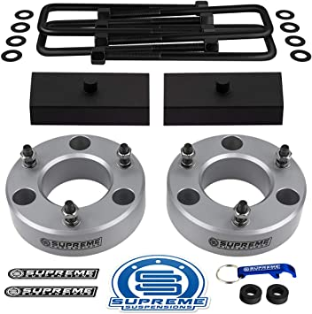 3 Rear Lift Blocks Supreme Suspensions Full Lift Kit for 2007-2019 Silverado Sierra 1500 3 Front Lift Strut Spacers Square Bend U-Bolts Pro