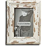 The Cape Cod Chippy Photo Frame, Rustic Bevels, Creamy White, Time Worn Distressed Finish, 5 1/2 L x 7 1/8 H Inches For Table Top Or Wall Display, By Whole House Worlds