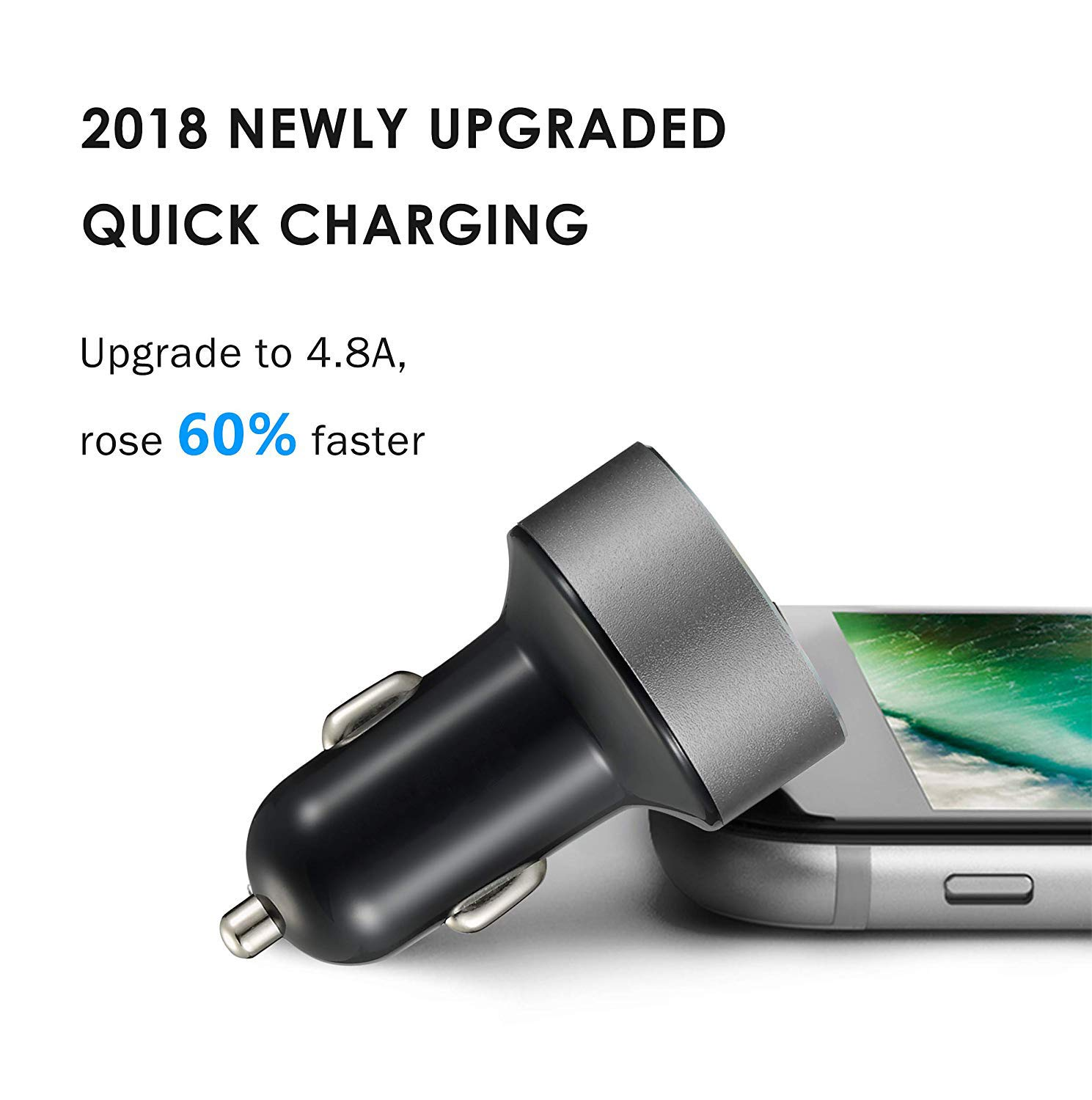 iPad Pro//Air 2//Mini MOLJILA 4.8A 24W Dual USB Fast Car Charger with Smart Identification for iPhone X//8//7//Plus Car Charger Samsung Galaxy Note8//S8//S8+ and More BLUENEW AMOLJILA
